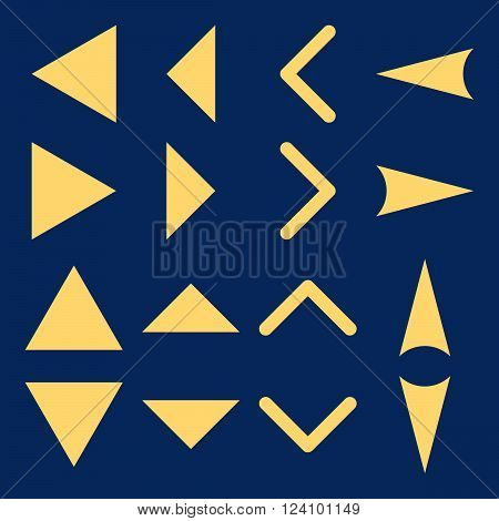 Arrowheads vector icon set. Collection style is yellow flat symbols on a blue background. Arrowheads icons.