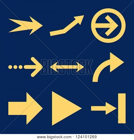 Direction Arrows vector icon set. Collection style is yellow flat symbols on a blue background. Direction Arrows icons.