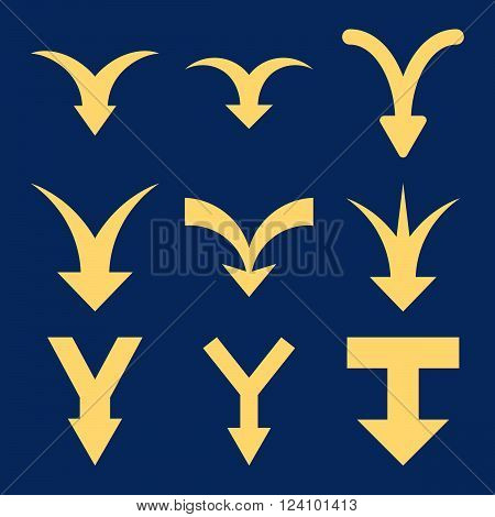 Join Arrows Down vector icon set. Collection style is yellow flat symbols on a blue background. Join Arrows Down icons.