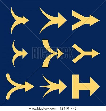 Join Arrows Right vector icon set. Collection style is yellow flat symbols on a blue background. Join Arrows Right icons.