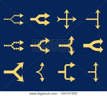 Junction Arrows Right vector icon set. Collection style is yellow flat symbols on a blue background. Junction Arrows Right icons.