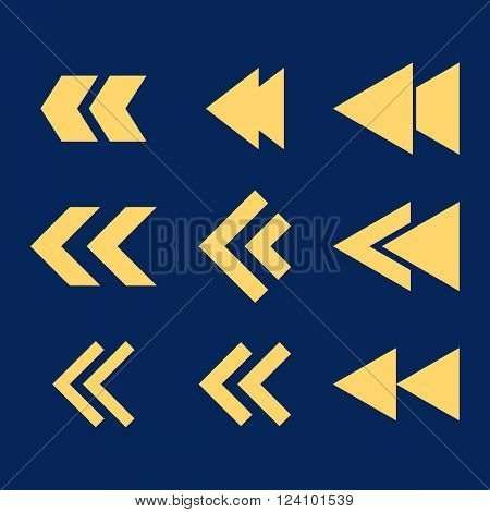 Left Direction vector icon set. Collection style is yellow flat symbols on a blue background. Left Direction icons.