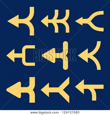 Merge Arrows Left vector icon set. Collection style is yellow flat symbols on a blue background. Merge Arrows Left icons.