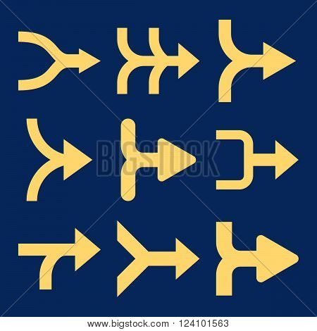 Merge Arrows Right vector icon set. Collection style is yellow flat symbols on a blue background. Merge Arrows Right icons.
