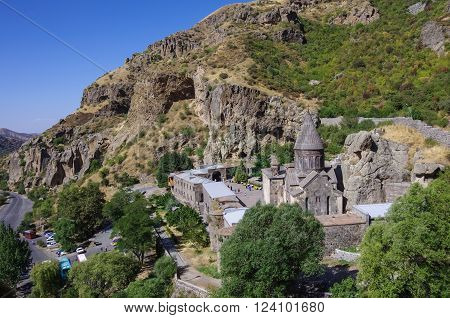 The top view on the medieval Geghard monastery complex Armenia