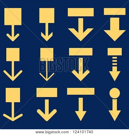 Pull Down vector icon set. Collection style is yellow flat symbols on a blue background. Pull Down icons.