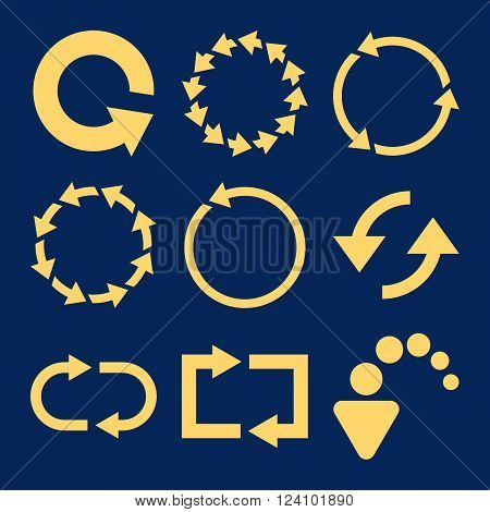 Rotate Arrows vector icon set. Collection style is yellow flat symbols on a blue background. Rotate Arrows icons.