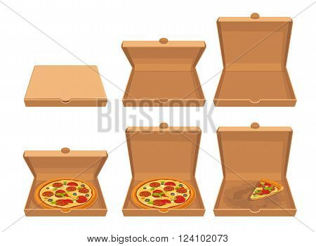 Whole pizza and slices of pizza in closed and open brown carton packaging box. Set isolated vector flat illustrations for poster menus logotype brochure web and icon