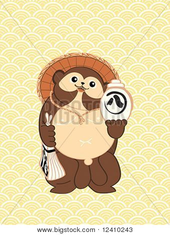 Tanuki (Japanese raccoon dog) over seamless wave pattern