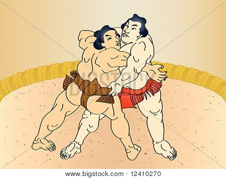Sumo wrestlers at the ring in classic ukiyo-e style