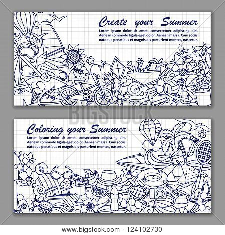 Vector illustration of fliers with hand drawn doodle summer elements in squared paper