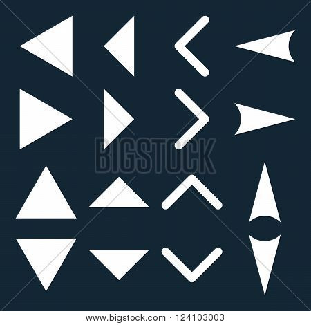 Arrowheads vector icon set. Collection style is white flat symbols on a dark blue background. Arrowheads icons.