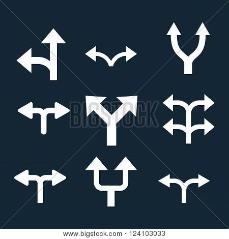 Divide Arrows vector icon set. Collection style is white flat symbols on a dark blue background. Divide Arrows icons.