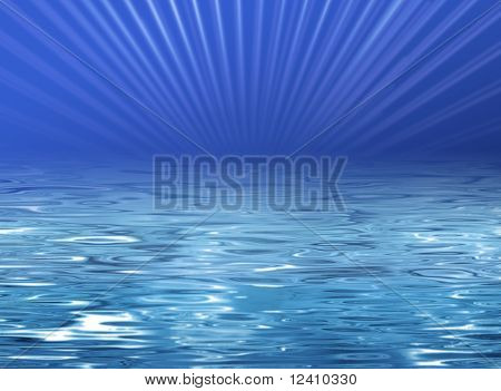 Beach illustration - clear blue water