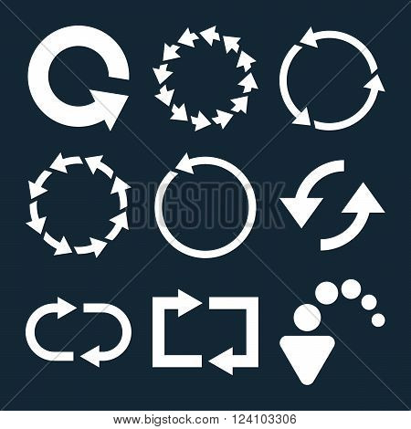 Rotate Arrows vector icon set. Collection style is white flat symbols on a dark blue background. Rotate Arrows icons.