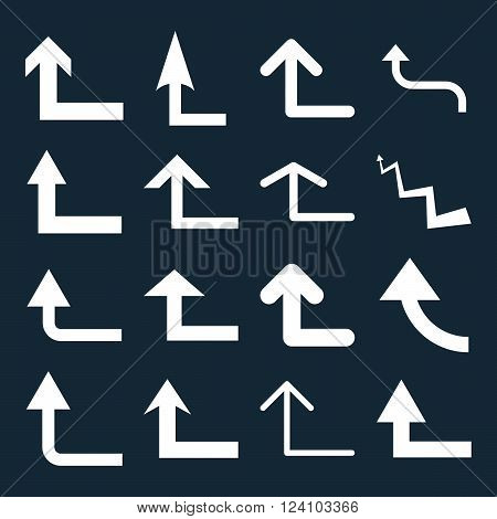 Turn Forward vector icon set. Collection style is white flat symbols on a dark blue background. Turn Forward icons.