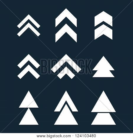 Up Direction vector icon set. Collection style is white flat symbols on a dark blue background. Up Direction icons.