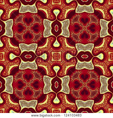 Kaleidoscopic ornamental generated orange pattern or background