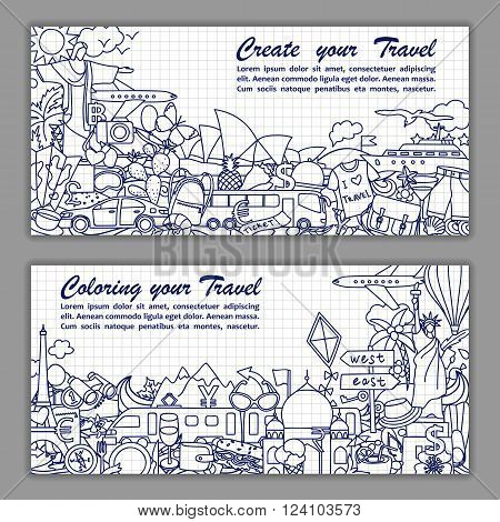 Vector illustration of fliers with hand drawn doodle travel elements on squared paper