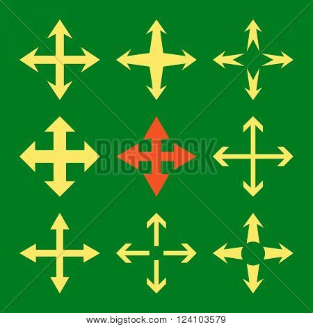 Expand Arrows vector icon set. Collection style is bicolor orange and yellow flat symbols on a green background. Expand Arrows icons.