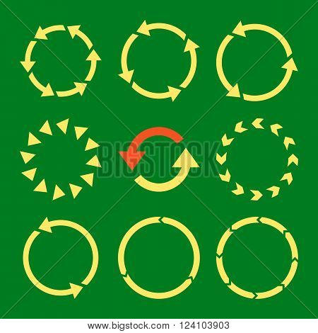 Rotation Direction vector icon set. Collection style is bicolor orange and yellow flat symbols on a green background. Rotation Direction icons.
