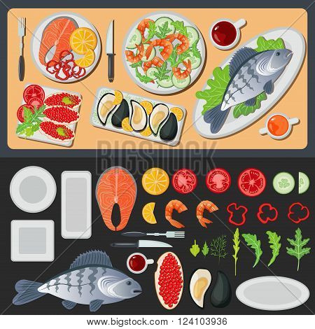 Sea Food. Healthy Food. Prepared Fish. Vegetables and Fish. Seafood Menu. Fish and Shrimps. Seafood Cuisine. Vector illustration. Flat style