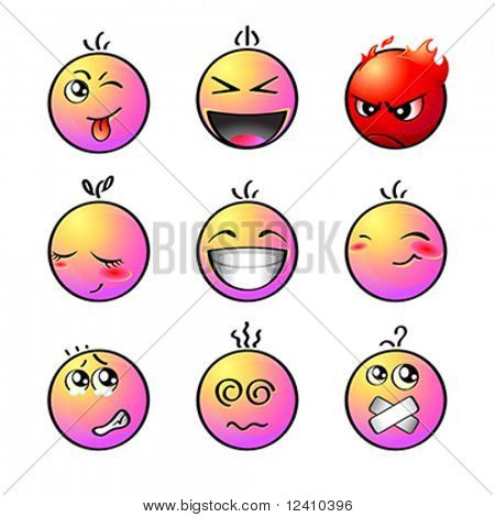 Set of impish, shout, angry, lovely, laugh, smile, afraid, dizzy and silent smiley