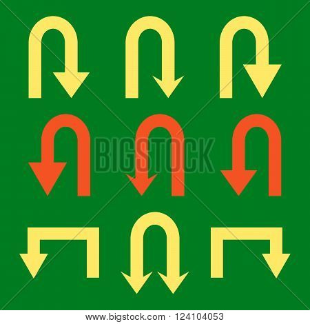 Turn Back Arrows vector icon set. Collection style is bicolor orange and yellow flat symbols on a green background. Turn Back Arrows icons.