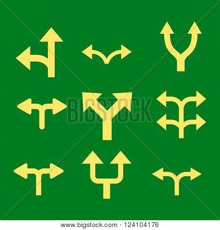 Divide Arrows vector icon set. Collection style is yellow flat symbols on a green background. Divide Arrows icons.
