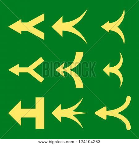 Join Arrows Left vector icon set. Collection style is yellow flat symbols on a green background. Join Arrows Left icons.
