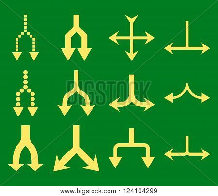 Junction Arrows Down vector icon set. Collection style is yellow flat symbols on a green background. Junction Arrows Down icons.