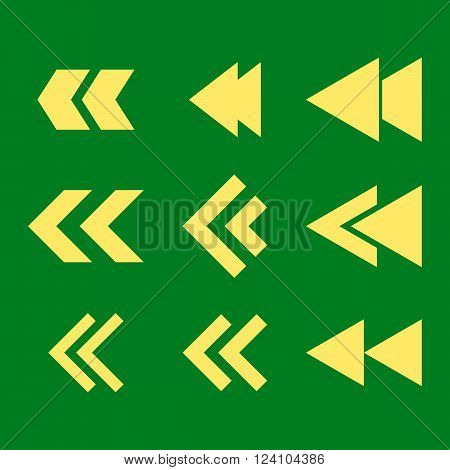 Left Direction vector icon set. Collection style is yellow flat symbols on a green background. Left Direction icons.