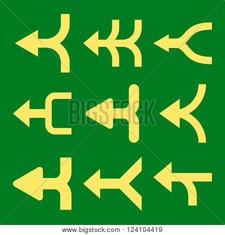 Merge Arrows Left vector icon set. Collection style is yellow flat symbols on a green background. Merge Arrows Left icons.