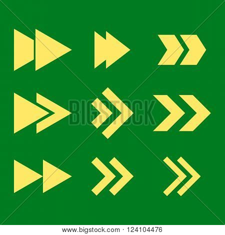 Right Direction vector icon set. Collection style is yellow flat symbols on a green background. Right Direction icons.