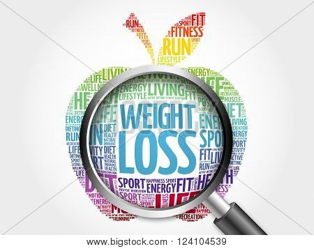 WEIGHT LOSS apple word cloud with magnifying glass, health concept