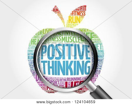 Positive thinking apple word cloud with magnifying glass, health concept