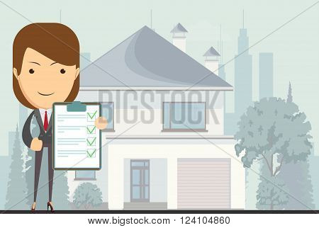 Real estate concept realtor woman on house background in flat style, vector illustration