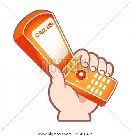 Cartoon hand with mobile phone as support service symbol