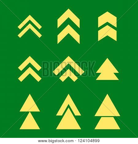 Up Direction vector icon set. Collection style is yellow flat symbols on a green background. Up Direction icons.