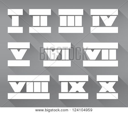 Vector set of isolated flat roman numerals. Stock illustration for design