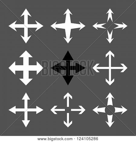 Expand Arrows vector icon set. Collection style is bicolor black and white flat symbols on a gray background. Expand Arrows icons.
