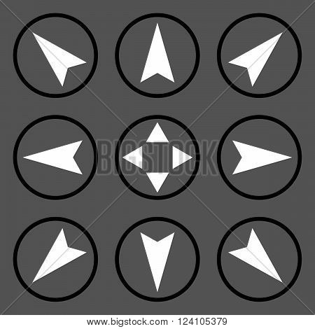 Navigation Directions vector icon set. Collection style is bicolor black and white flat symbols on a gray background. Navigation Directions icons.