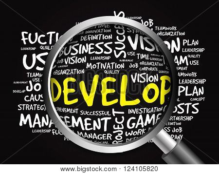 Develop Word Cloud With Magnifying Glas