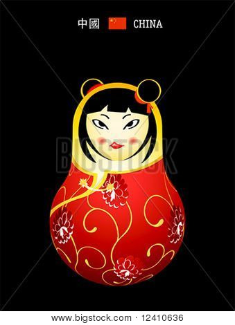 Matryoshkas of the World: chinese girl in qipao dress