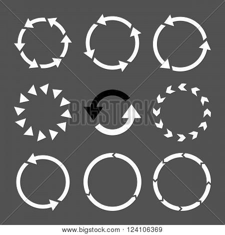 Rotation Direction vector icon set. Collection style is bicolor black and white flat symbols on a gray background. Rotation Direction icons.