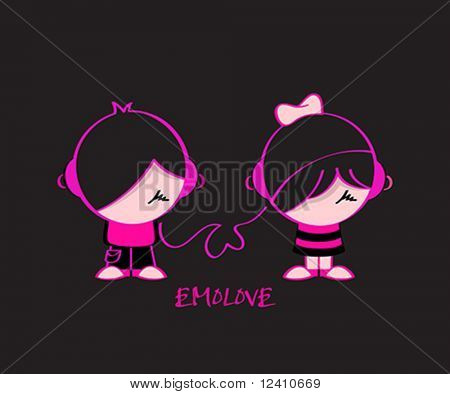 Emo pair in music love isolated over black