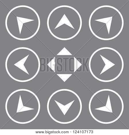 Circled Arrowheads vector icon set. Collection style is white flat symbols on a gray background. Circled Arrowheads icons.