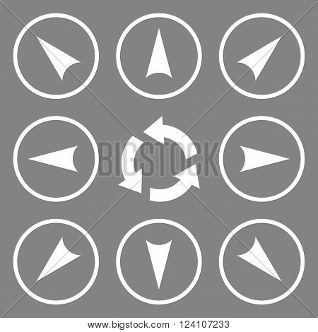 Circled Directions vector icon set. Collection style is white flat symbols on a gray background. Circled Directions icons.