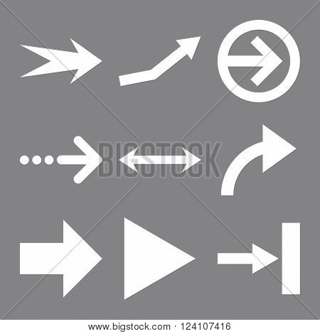 Direction Arrows vector icon set. Collection style is white flat symbols on a gray background. Direction Arrows icons.