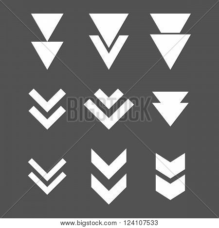 Down Direction vector icon set. Collection style is white flat symbols on a gray background. Down Direction icons.